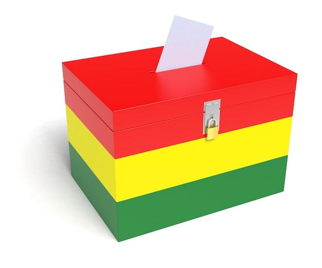 Urne bandiera boliviana. sfondo bianco isolato. rendering 3d.