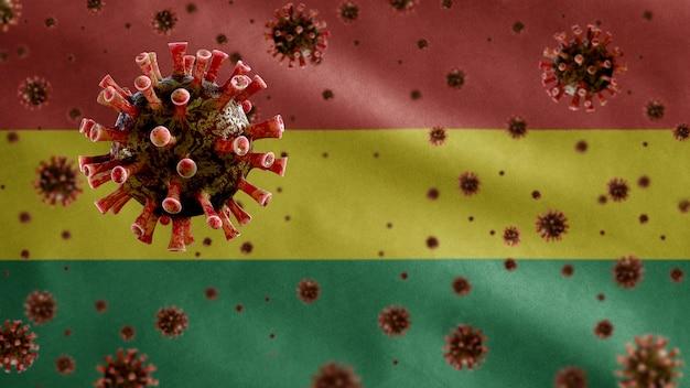 Bandiera boliviana sventolante e virus del microscopio del coronavirus