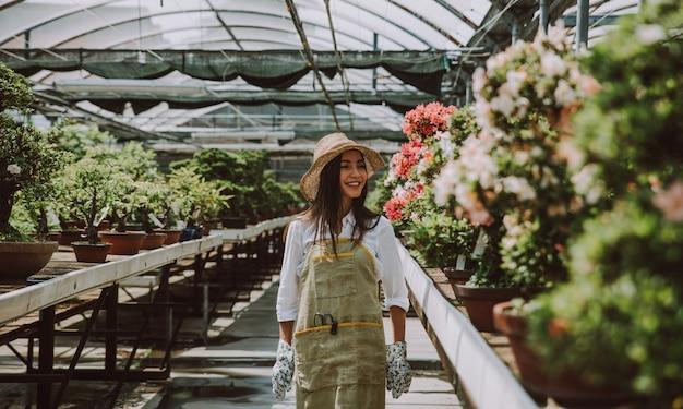 Centro serra bonsai. file con piccoli alberi, donna che lavora e si prende cura delle piante