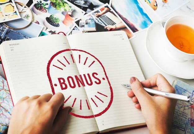 Bonus beneficio ricompensa incentivo denaro graphic concept