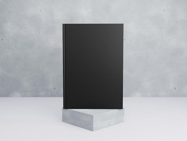 Modello di libro con copertina rigida nera su sfondo di cemento e piedistallo in 3d