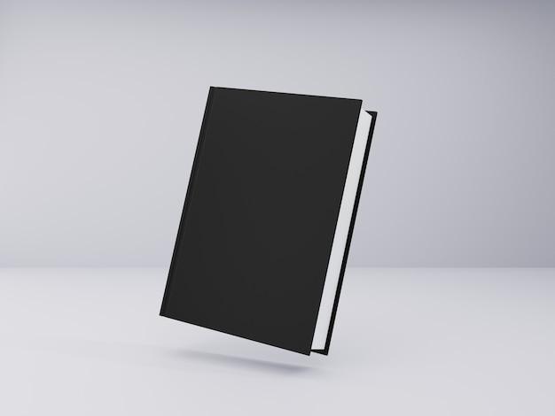 Modello di libro con copertina rigida nera su sfondo grigio
