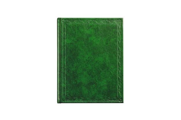 Prenota con copertina di colore verde isolato su sfondo bianco