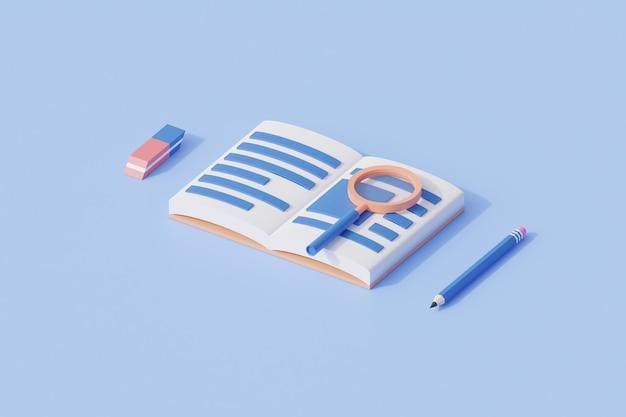 Istruzione di analisi dei libri con il libro e la lente di ingrandimento con il risultato dell'illustrazione di rendering 3d