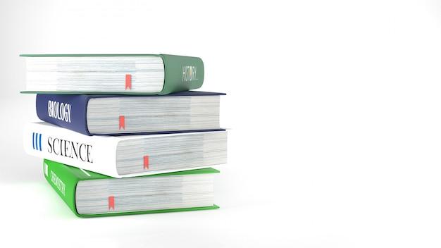Libri, ritorno a scuola concetto rendering 3d