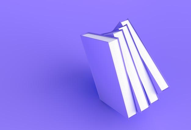 Pila di libri di design in stile mockup segnalibro.