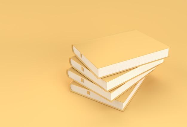 Pila di libri di design in stile mockup segnalibro da libro di testo