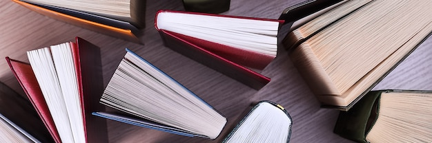 Libri sul tavolo, vista dall'alto. i libri, i fogli sono stesi a ventaglio, le ombre dei libri su un tavolo di legno chiaro.