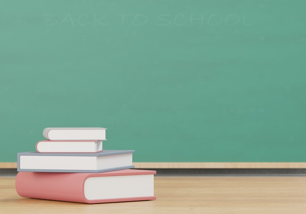 Libri sulla tavola di legno, di nuovo alla rappresentazione di concetto 3d della scuola