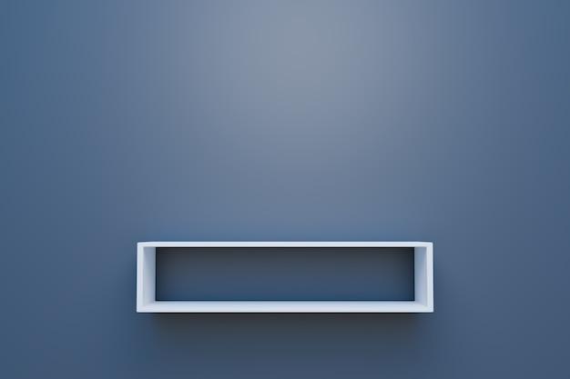 Scaffale per libri su parete grigia o scaffale in bagno minimo, rendering illustrazione 3d