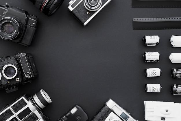 Confine di macchine fotografiche cinematografiche e vintage