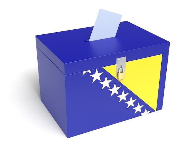 Bosnia ed erzegovina urne con bandiera della bosnia ed erzegovina isolati su sfondo bianco