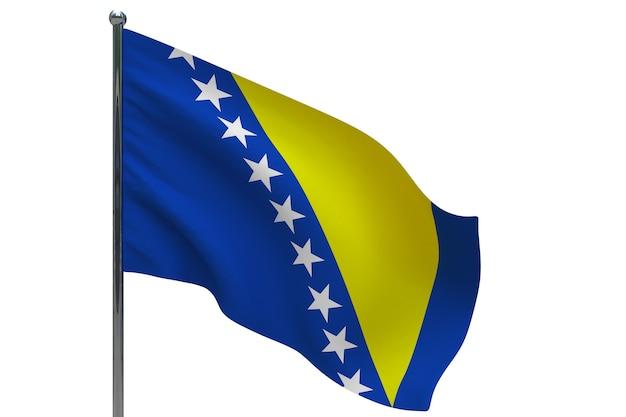 Bandiera della bosnia ed erzegovina in pole. pennone in metallo. bandiera nazionale della bosnia-erzegovina 3d'illustrazione su bianco