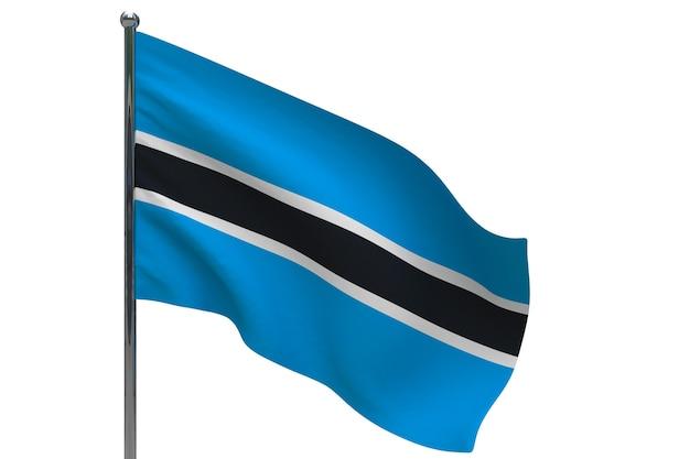 Bandiera del botswana in pole. pennone in metallo. bandiera nazionale del botswana 3d'illustrazione su bianco