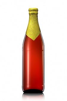 Bottiglia di birra con lamina dorata e percorso di ritaglio isolato su sfondo bianco