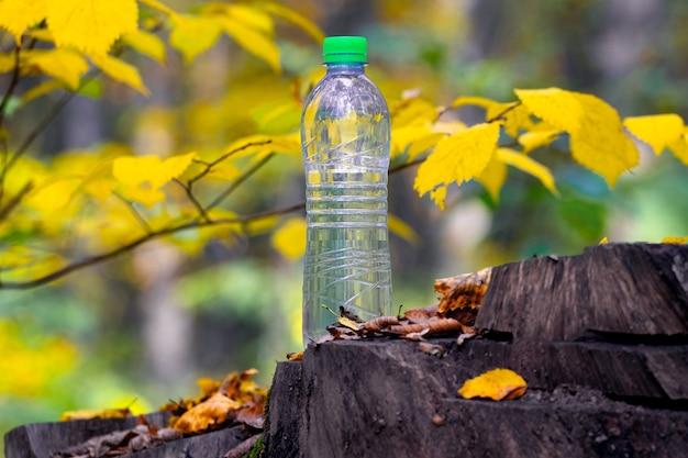 Bottiglia di acqua potabile pulita nella foresta autunnale su un ceppo