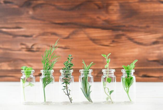 Bottiglia di olio essenziale con erbe basilico santo fiore, flusso di basilico. foto di alta qualità