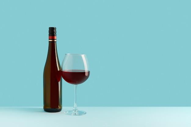 Bottiglia e bicchiere di vino rosso su sfondo blu mock up drink con posto per te etichetta e testo