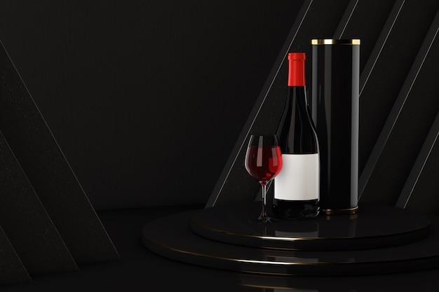Bottiglia e bicchiere di vino rosso con pacchetto sul podio del premio su sfondo nero. rendering 3d