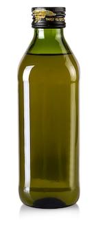 La bottiglia di olio d'oliva isolata su un bianco.