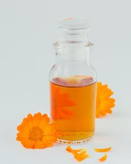 Una bottiglia di tintura o infuso di calendula con fiori di calendula freschi su un bianco. medicina alternativa naturale a base di erbe, erbe curative e medicinali.