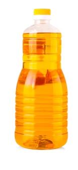 Bottiglia di olio di girasole isolato su sfondo bianco.