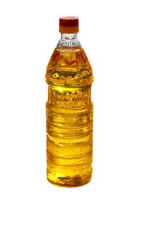 Bottiglia di olio di girasole isolato su sfondo bianco