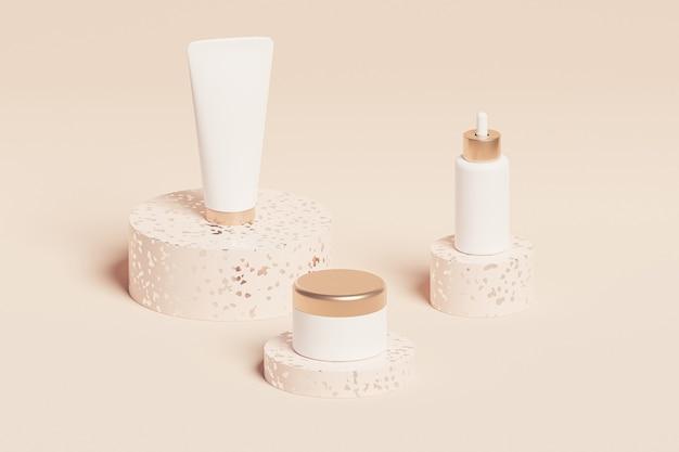 Bottiglia, tubo e vaso per prodotti cosmetici sulla superficie beige