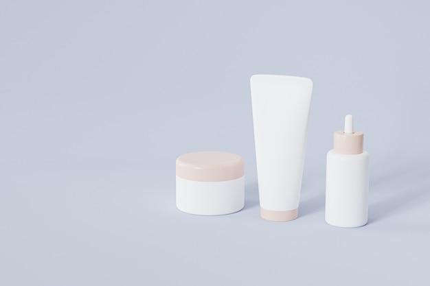 Bottiglia, tubo e vaso per prodotti cosmetici sulla superficie blu