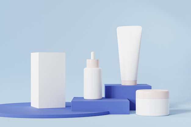 Bottiglia, tubo, barattolo e confezione per prodotti cosmetici sulla superficie blu