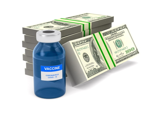 Bottiglia di vaccino e soldi su bianco.