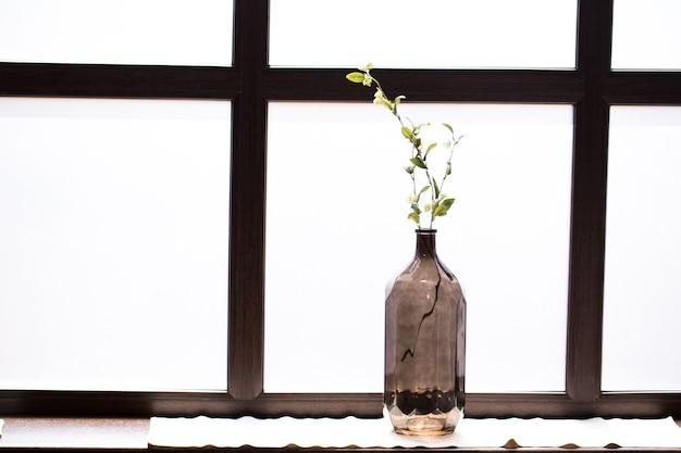 Bottiglia con un rametto sul davanzale con vetro smerigliato bianco.