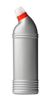 Bottiglia con prodotti chimici domestici detergenti per wc isolati su bianco