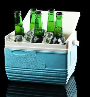 Bottiglie di birra con cubetti di ghiaccio in mini frigorifero sul nero