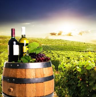 Bottiglie di vino sulla botte di rovere su vigneti sullo sfondo. concetto di cantina