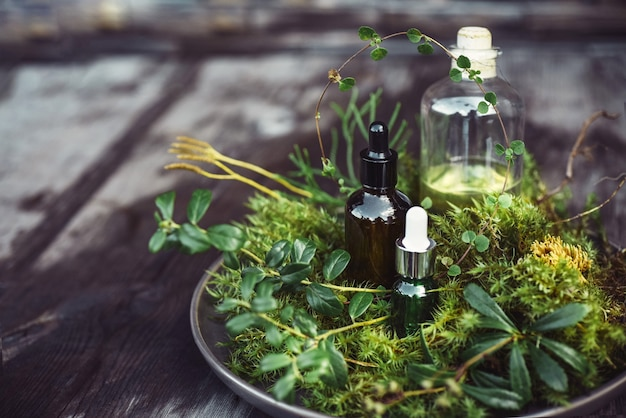 Flaconi con siero cosmetico naturale, olio per il viso, cura del corpo con piante fresche