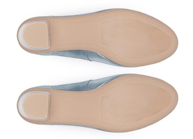 Parte inferiore delle scarpe, isolato su sfondo bianco.