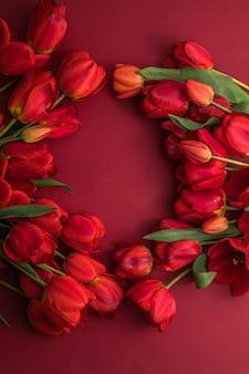 Mazzo di bellissimi tulipani rossi su una superficie di carta rossa