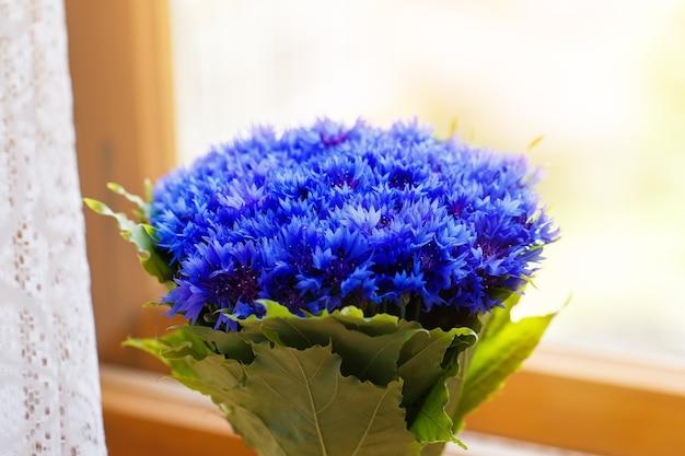 Un bouquet di bei fiori primaverili blue cyanus di fiordaliso sulla finestra. modello di fiori blu. foto macro.