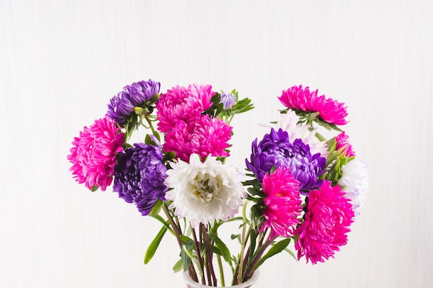 Bouquet di crisantemi su sfondo bianco. natura morta di coloratissimi fiori autunnali