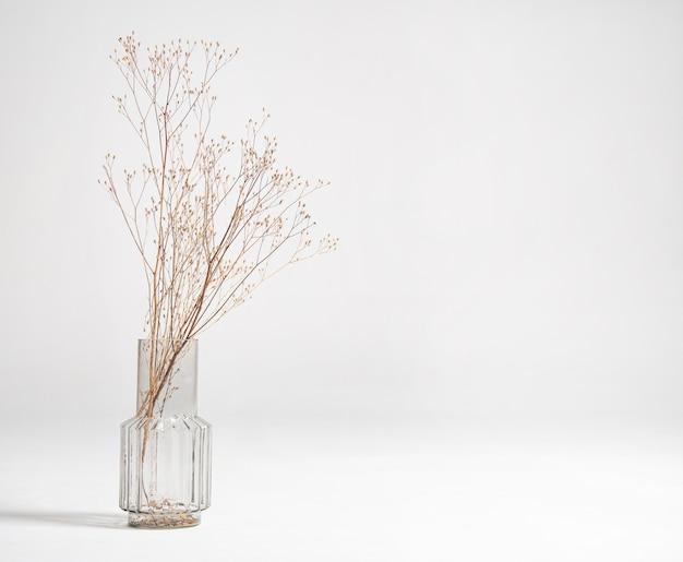 Un mazzo di fiori secchi in un vaso di vetro su sfondo bianco