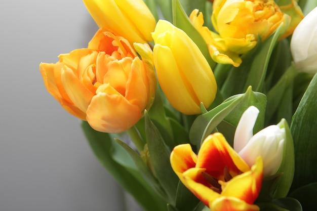Bouquet di tulipani freschi su grigio