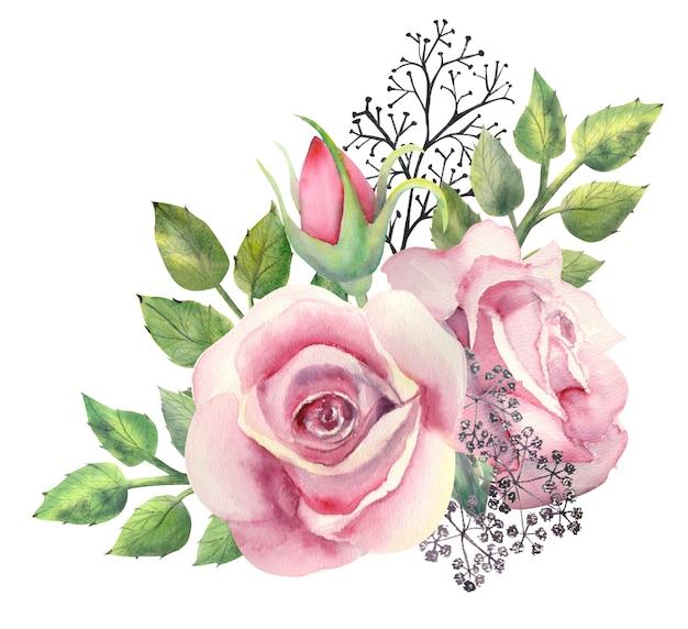 Un bouquet di fiori di rosa rosa disegno