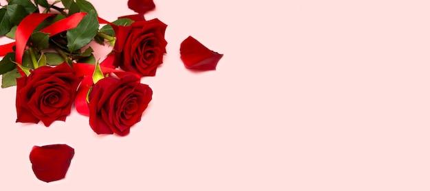 Un mazzo di rose rosse su sfondo rosa con un nastro rosso e petali di rosa, uno spazio vuoto per una cartolina, un posto per il testo