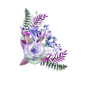 Bouquet di rose, foglie, bacche, ramoscelli decorativi. concetto di matrimonio con fiori. composizione acquerello nei toni del blu per biglietti di auguri o inviti.