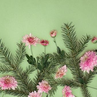 Bouquet di rametti di abete e fiori di crisantemo su sfondo verde con spazio di copia