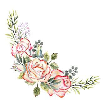 Un bouquet di rose bianche con bordo rosa, foglie, bacche, ramoscelli decorativi. illustrazioni ad acquerello per la progettazione di biglietti di auguri, inviti, ecc.