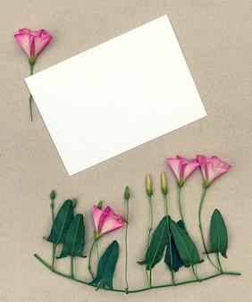 Bouquet di fiori di campo convolvolo su uno sfondo grigio con copia spazio per il design.