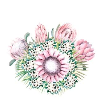 Bouquet con fiori di protea, foglie tropicali, foglie di palma, fiori di bouvardia