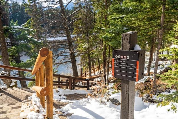 Sentiero del fiume bow in giornata di sole invernale. parco nazionale di banff, montagne rocciose canadesi. banff, ab, canada